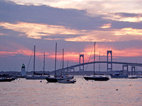 Newport Bridge Sunset & Goat Island Light